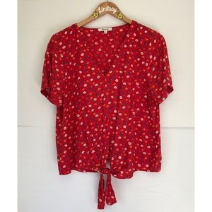 Madewell Tie Red Floral Blouse